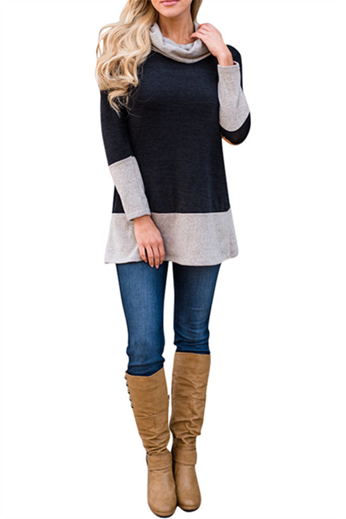 Turtleneck Patchwork Long Sleeve Sweater