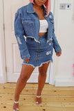 Denim Hole Button Turndown Collar Zipper Up Jacket - WHATWEARS