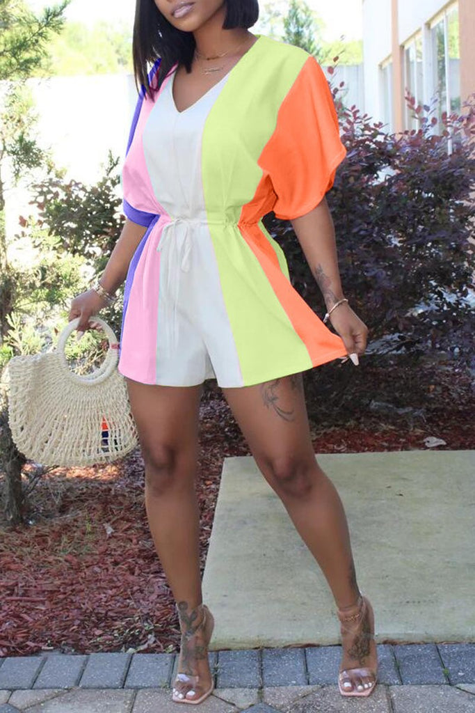 Rainbow Striped V-neck Drawstring Romper