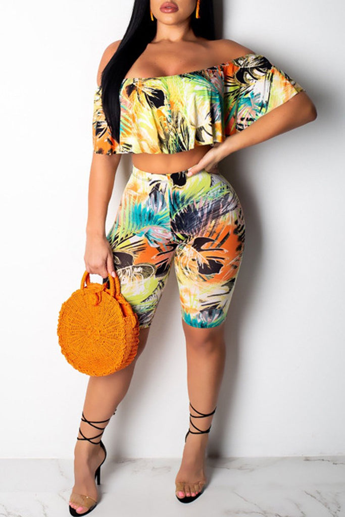 Off The Shoulder Flounced Digital Print Two Piece Outfits