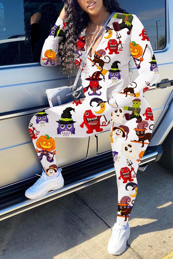 Halloween Digital Print Pocket Two Piece Sets