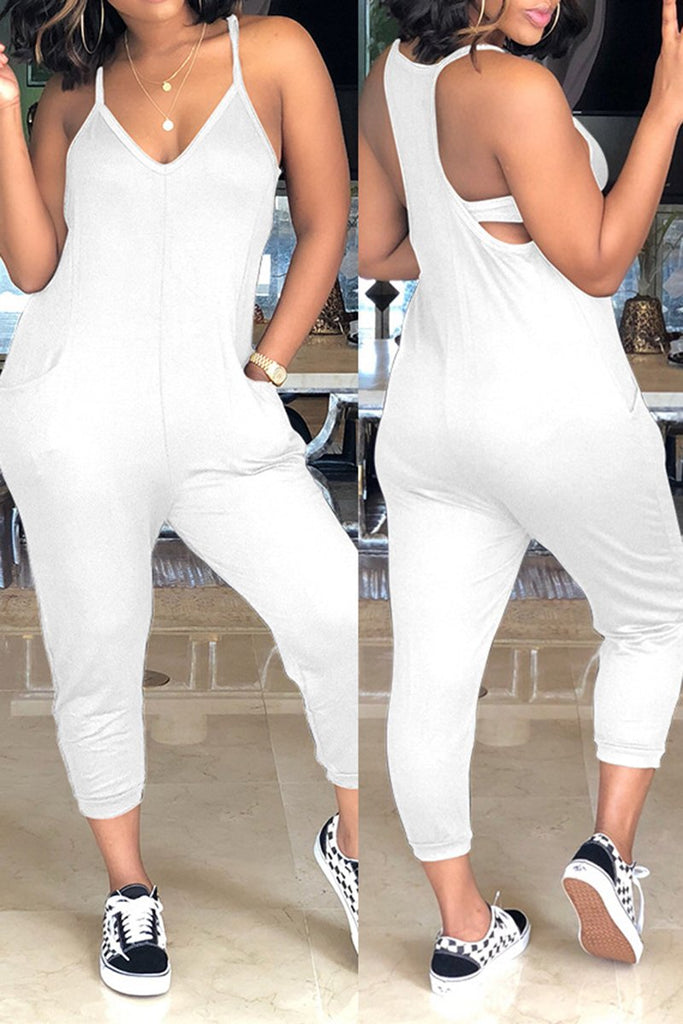 V-Neck Plus Size Solid Color Jumpsuit