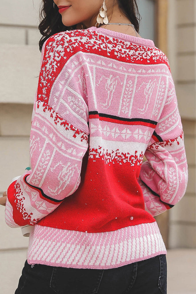 Snowflake Knitted Round Neck Long Sleeve Christmas Sweater