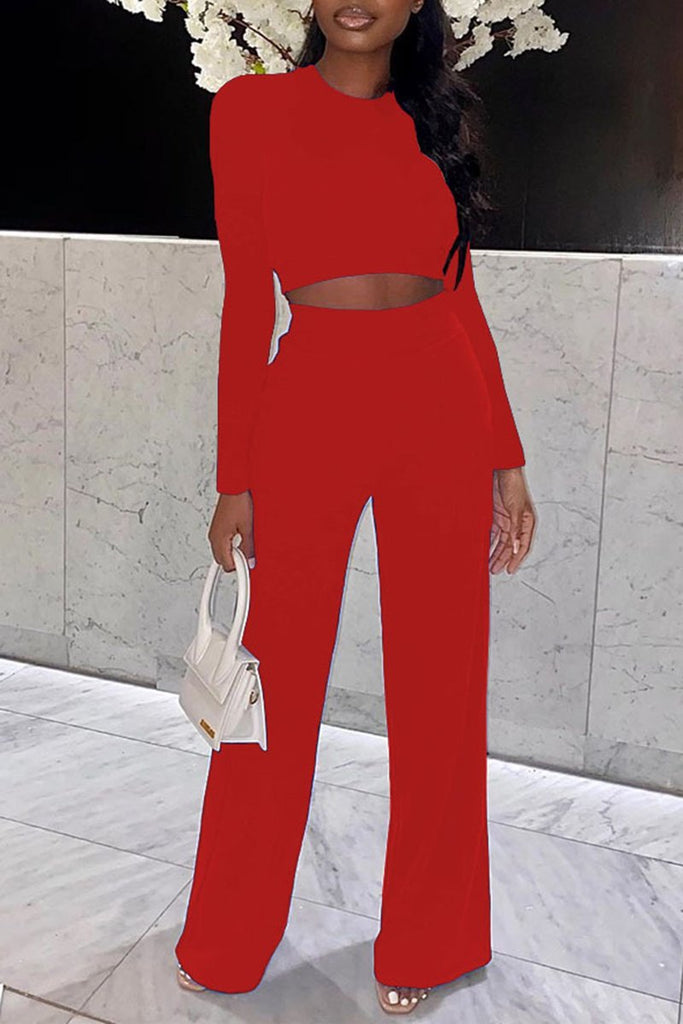 Solid Color High Waist Long Sleeve Top & Pants