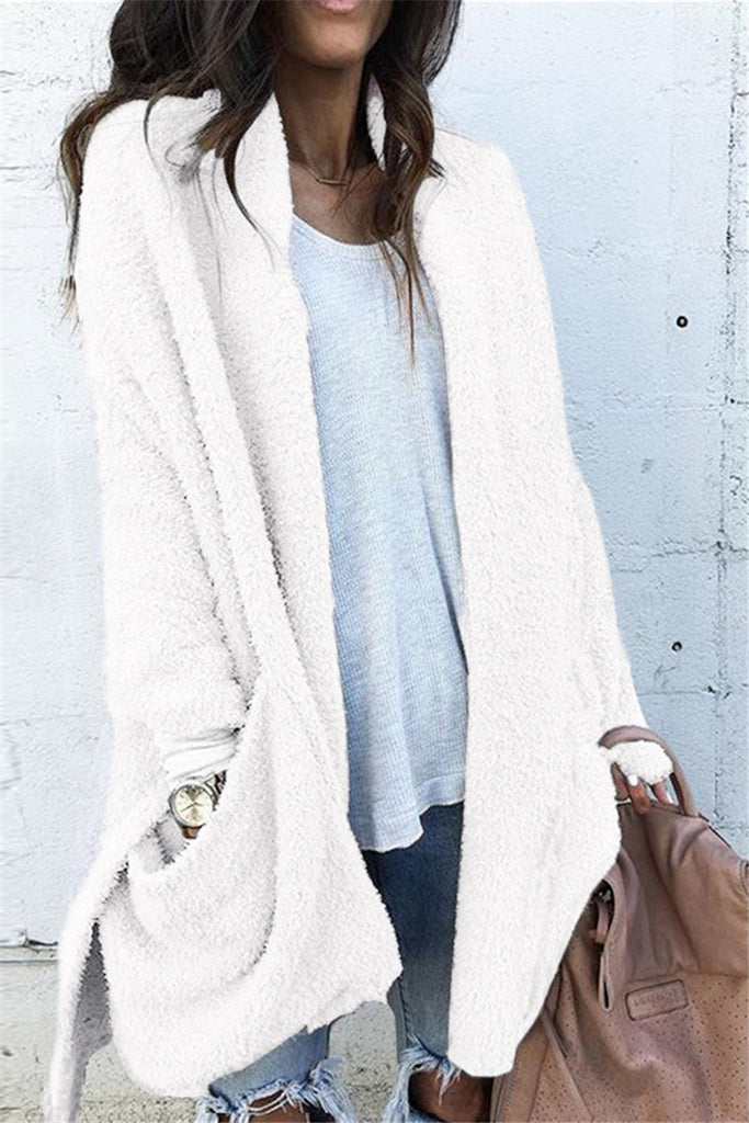 Loose Solid Pocket Long Sleeve Casual Coat