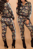Floral Print Side Striped Zipper Up Casual Jacket & Pants