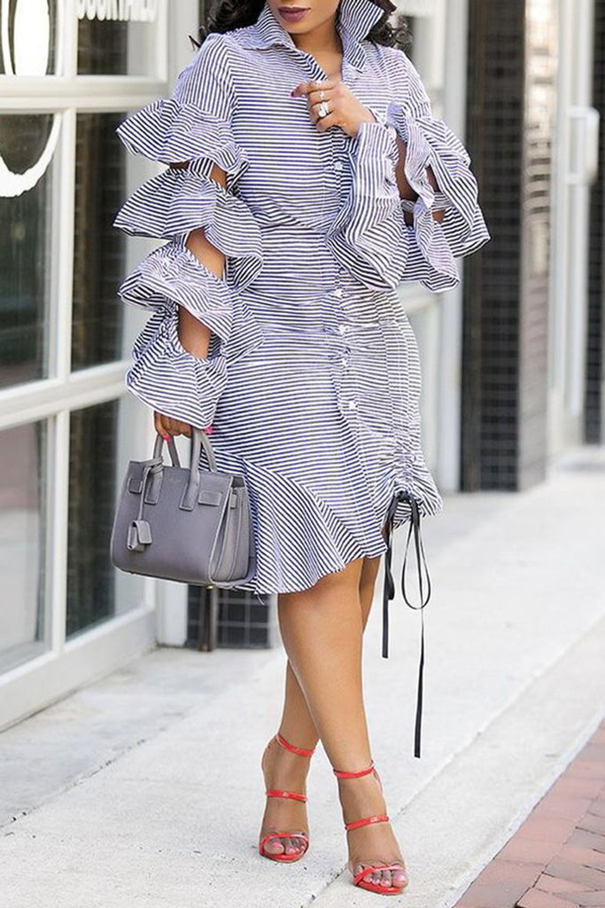 Multilayer Ruffle Lace Up Striped Button Casual Shirt Midi Dress