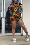 National Print Plus Size Top & Shorts