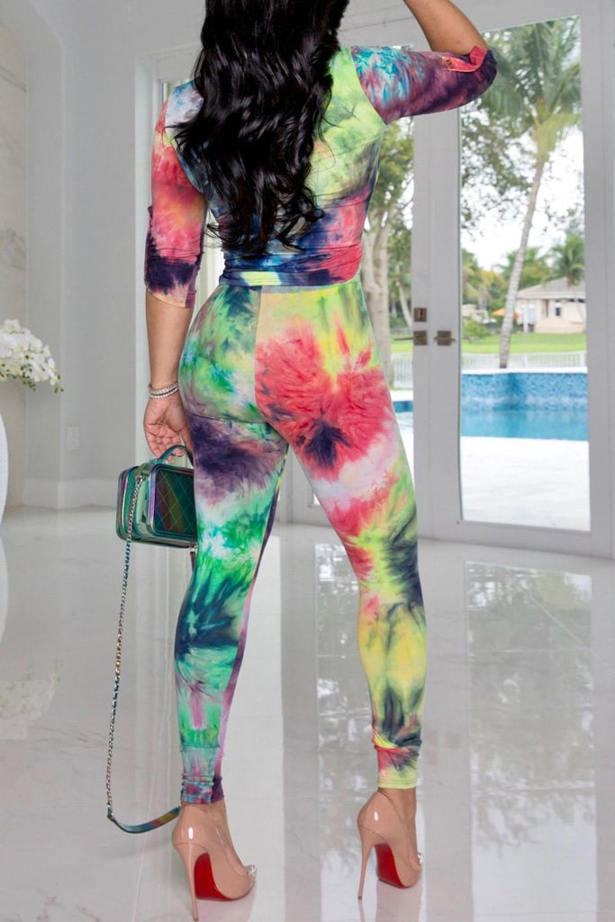 Tie Dye Turndown Collar Top & Pants