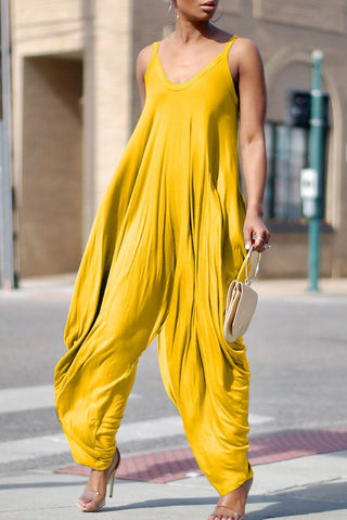 Solid Color Sleeveless Casual Jumpsuit фото