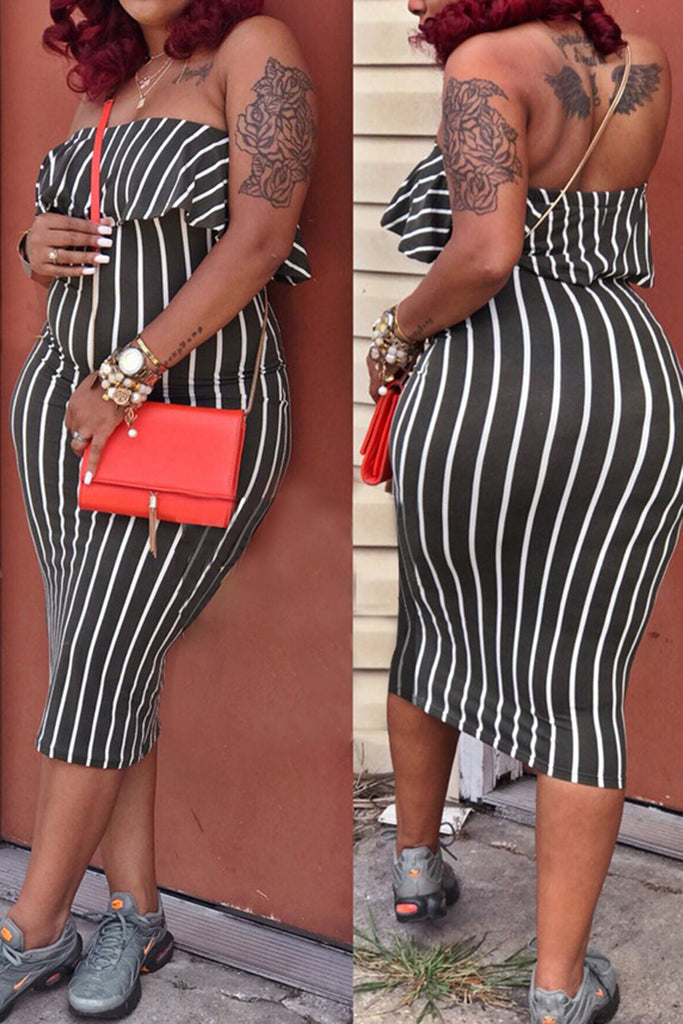 Stripe Off the Shoulder Bodycon Dress