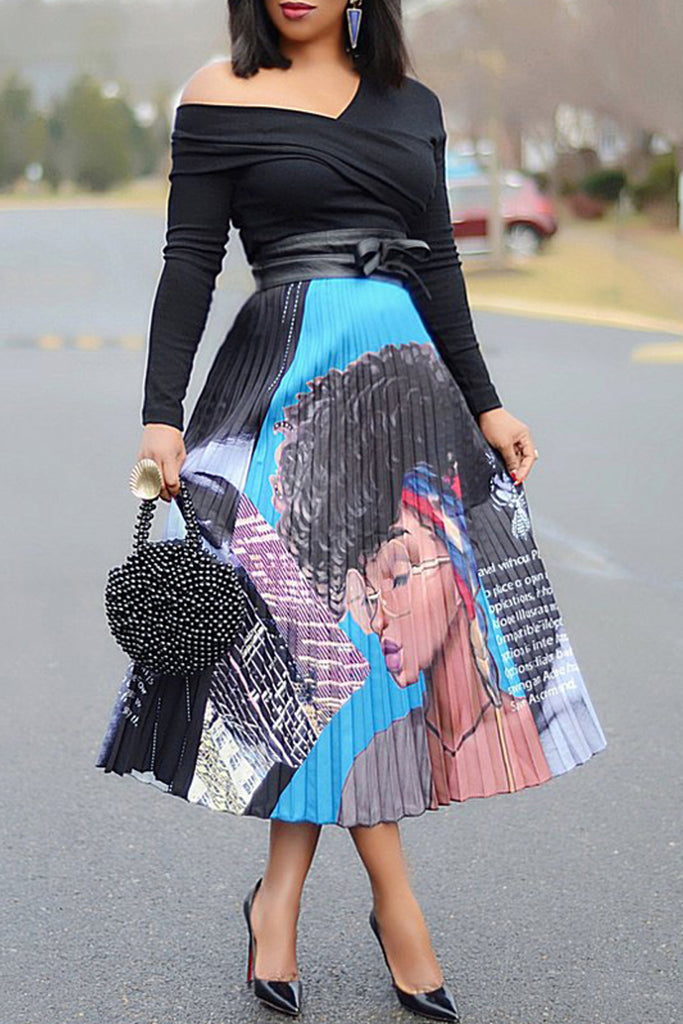 Casual Cartoon Print Pleated Skirt Without Belt
