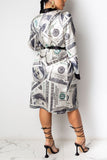 Digital Print Long Sleeve Casual Coat With Belt