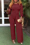 Fungus Edge Asymmetric Long Sleeve Solid Wide Color Jumpsuit