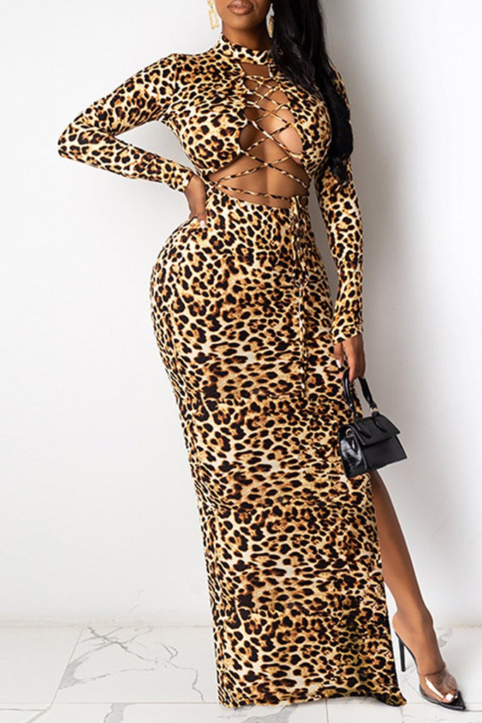 Leopard Side Slit Bandage Maxi Dress