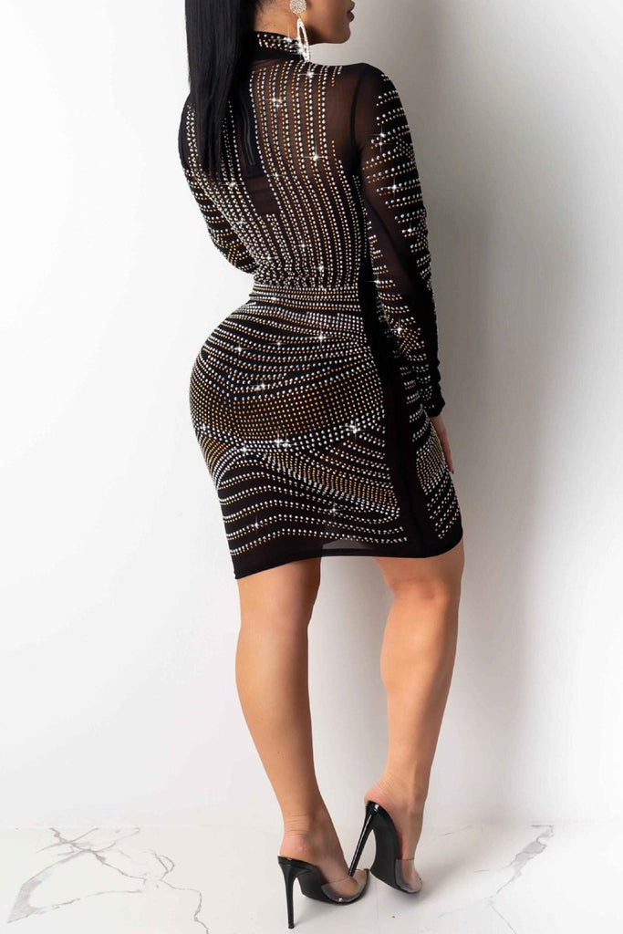 See-through Hot Drilling Mini Dress