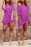 Casual Skew Neck T-shirt Solid Color Dress - WHATWEARS