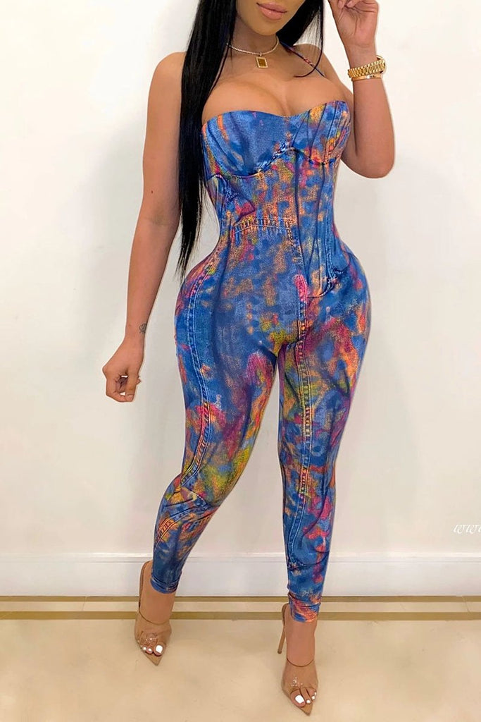 Decorative Edge Tie Dye Sleeveless Jumpsuit