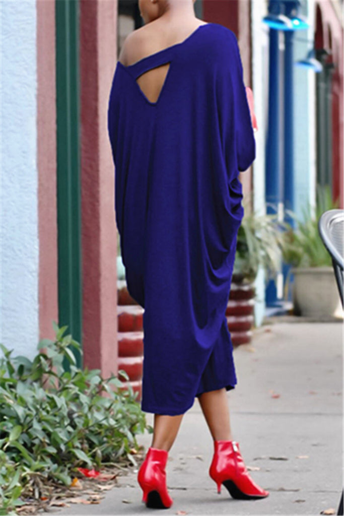 Off the Shoulder  Batwing Sleeve Loose Dress