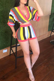 Rainbow Stripe Half Sleeve Top & Shorts