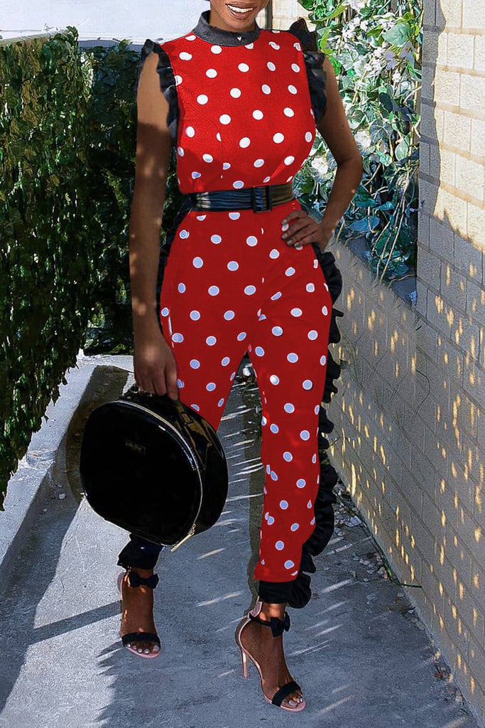 Ruffled Polka Dot Jumpsuit Without Belt