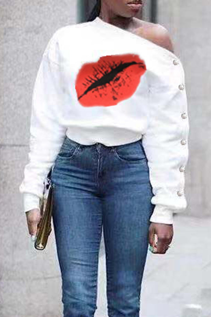 Beading Hip Digital Print Off One Shoulder Sweatshirt