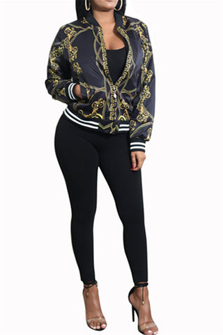 Zipper Front Gold Chain Bomber Jacket фото