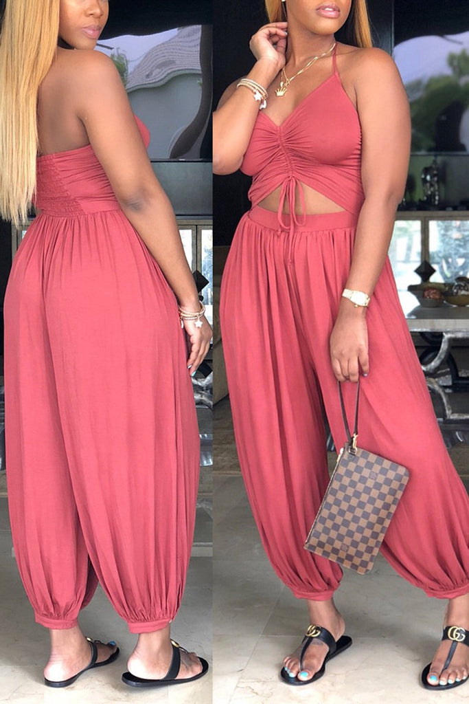 Plus Size V-Neck Lace Up Lantern Jumpsuit