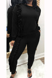 Solid Color Long Sleeve Fungus Edge Top & Pants