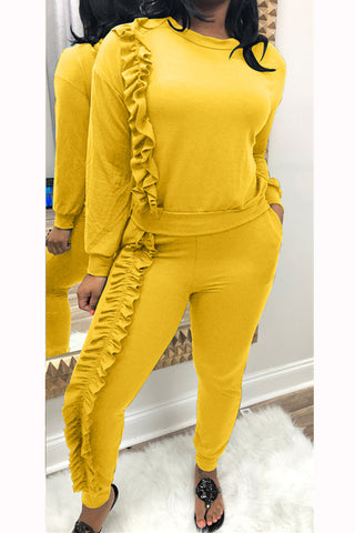 Solid Color Long Sleeve Fungus Edge Top and Pants