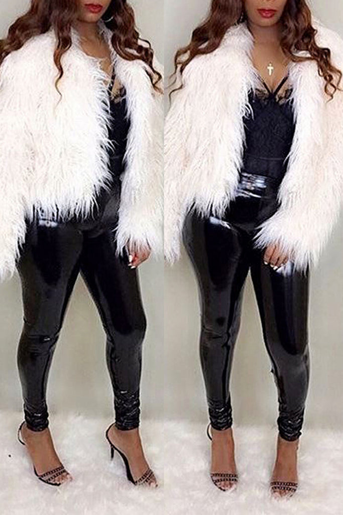 Solid Fur Long Sleeve Casual Winter Coat