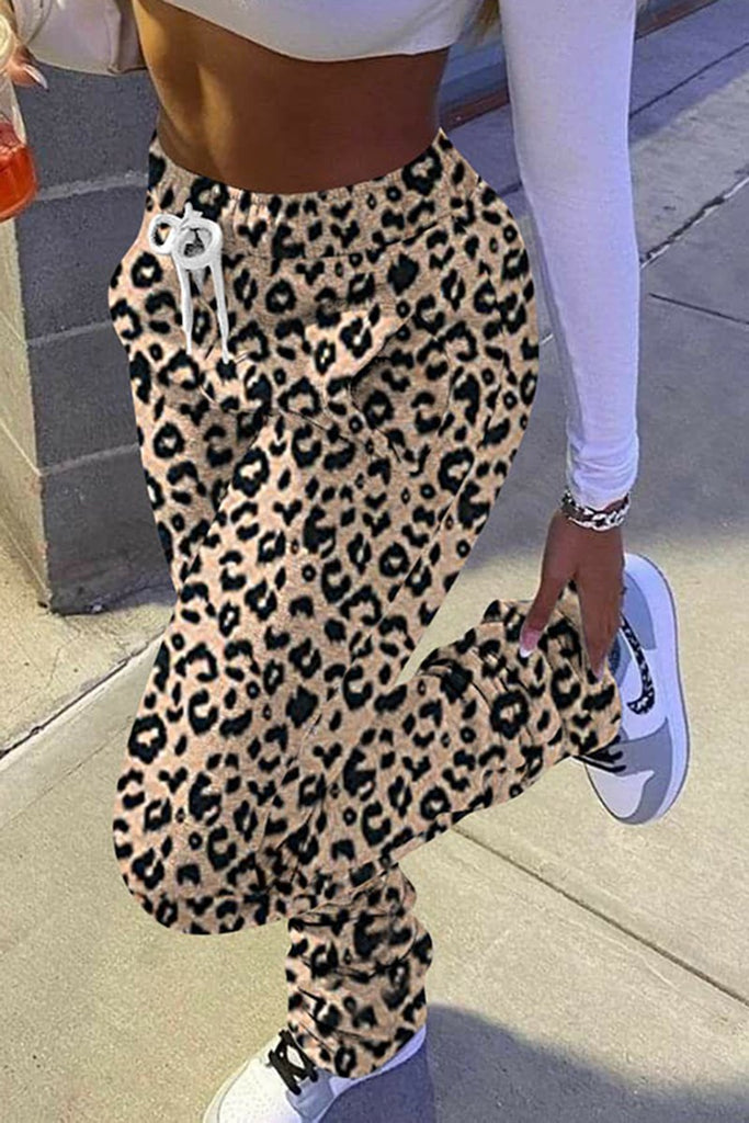 Leopard Lattice Print Drawstring Waist Pants