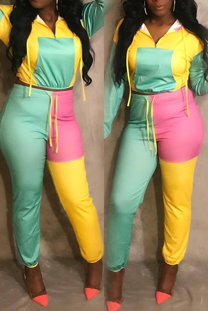 Fashion Color Block Front Pocket Zipper Hooded Two Piece Outfits