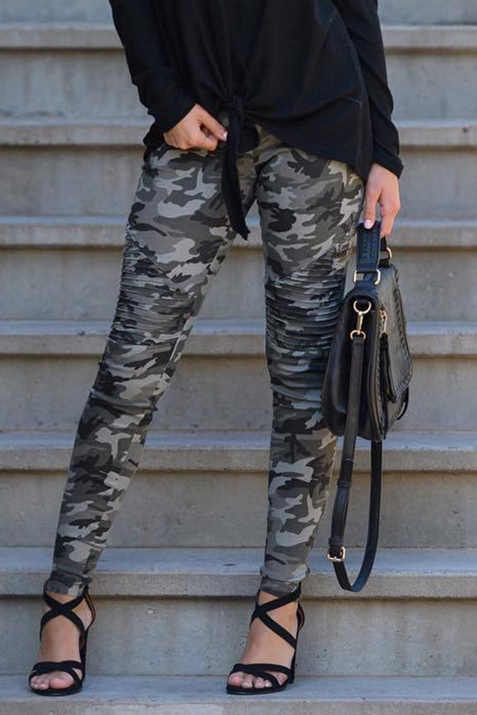 Camouflage Print Side Zipper Design Casual Pencil Pants