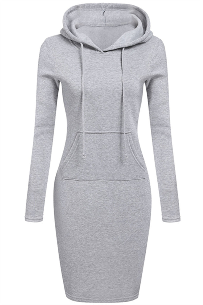 Long Sleeve Solid Color Hoodie Pocket Dress