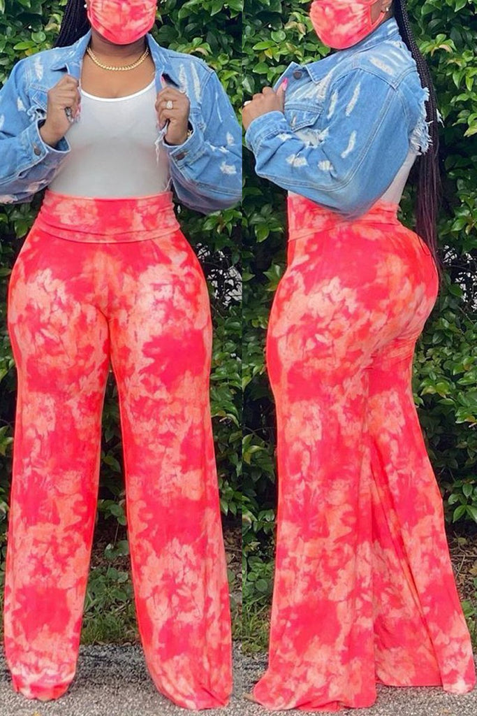 Tie Dye Wide Leg High Waist Pants With Mask