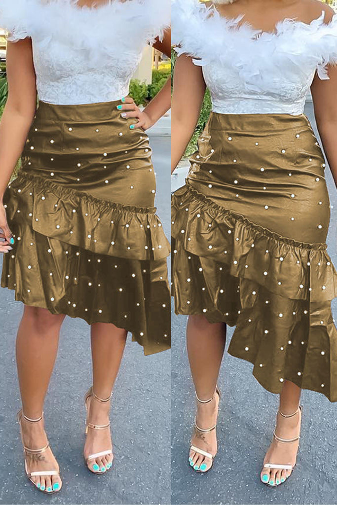 Leather Irregular Hem Pearl Hot Drilling PU Solid Color Midi Skirt