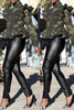 Camouflage Print Ruffle Sleeve Zipper Up Casual Jacket