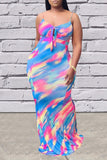 Tie Up Tie Dye Sleeveless Maxi Dress