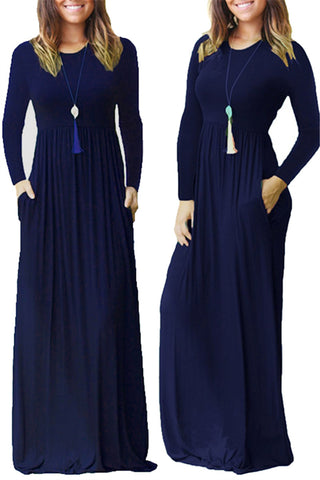Loose Plain Casual Pockets Maxi Dress фото