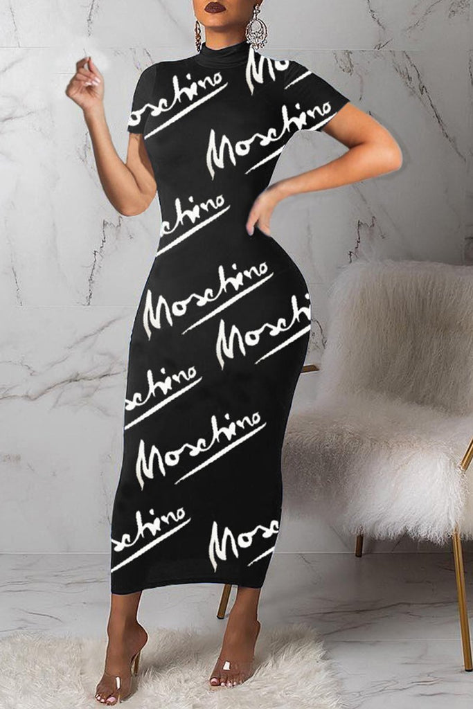 Letter Printed Short Sleeve Casual Maxi Dress