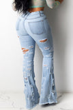 High Waist Hole Distressed Denim Pants