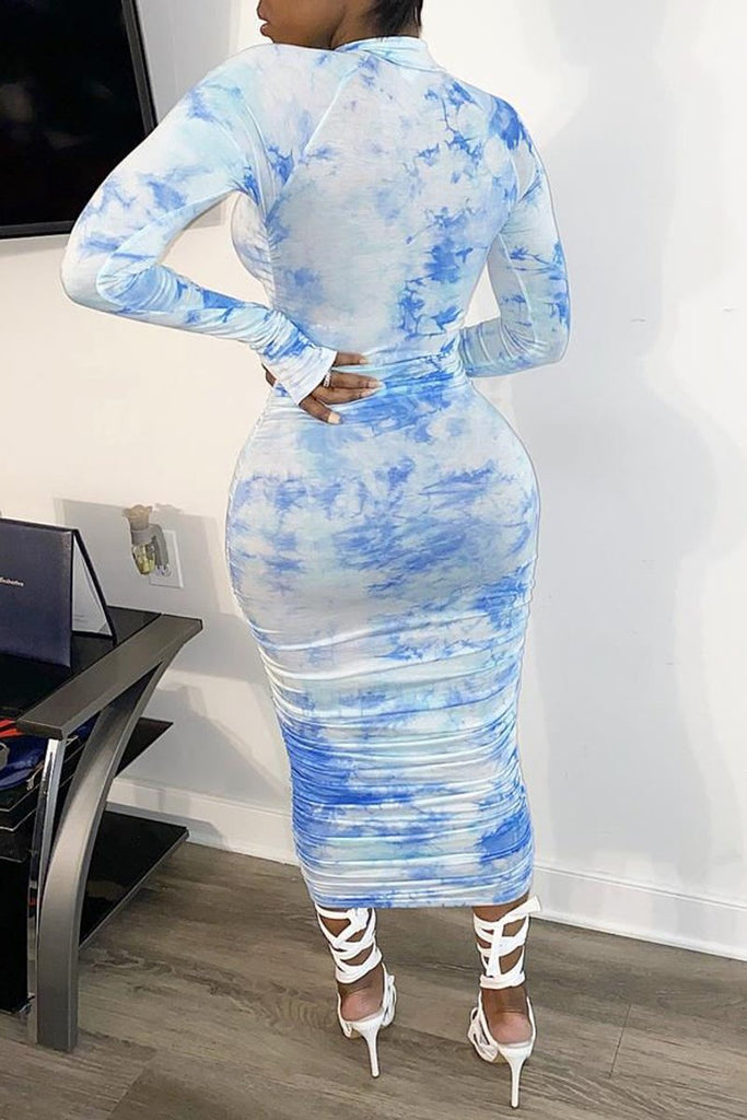 Wrinkled Tie Dye Long Sleeve Bodycon Maxi Dress