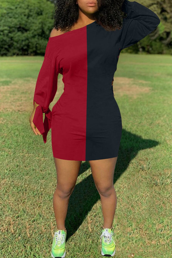 Skew Neck Color Block Tie Up Mini Dress