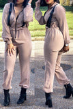 Solid Color Turndown Collar Long Sleeve Jumpsuit