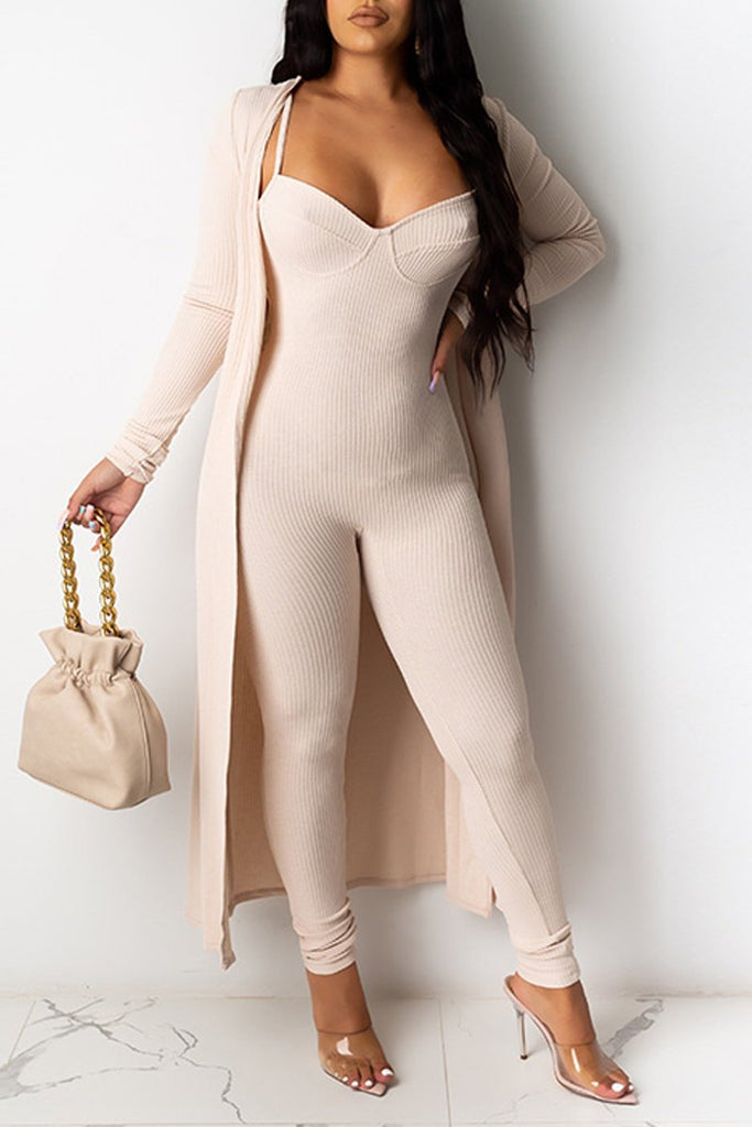 Solid Color Long Sleeve Cardigan & Jumpsuit