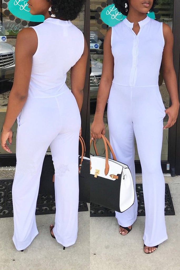 Solid Color Sleeveless Casual Pocket Casual Jumpsuit