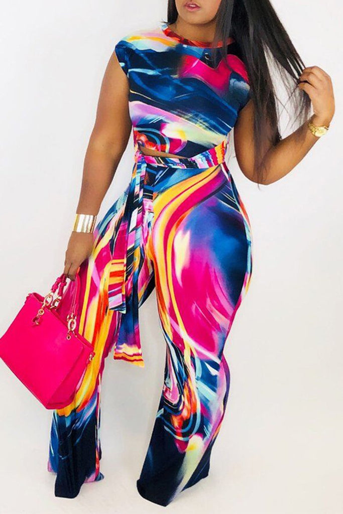 Tie Dye Short Sleeve Colorful Top & Pants