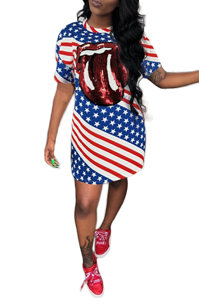 American Flag Print Sequined Mini Dress