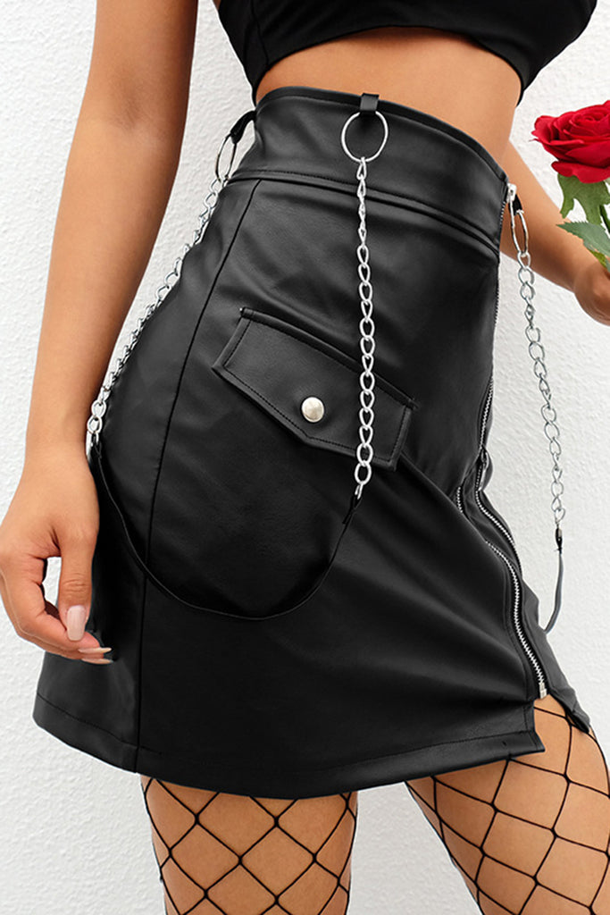 Leather Chain Design High Wasit Zipper Pu Braces Skirt